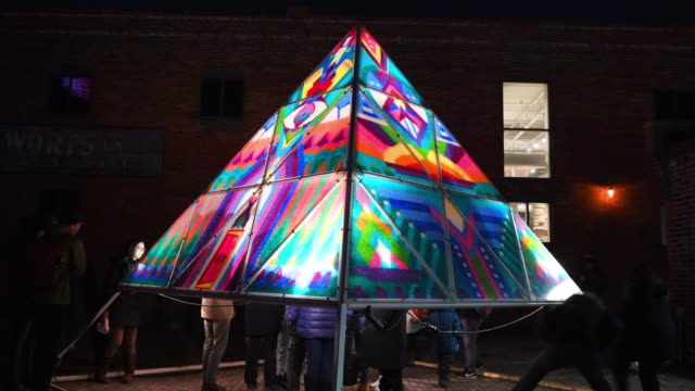 Toronto Lights Festival in the Historic Distillery District, Canada. The Gummy Bear Pyramid