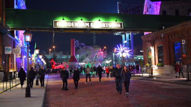 toronto lights festival in the historic distillery district, canada - ontario canada stock videos & royalty-free footage