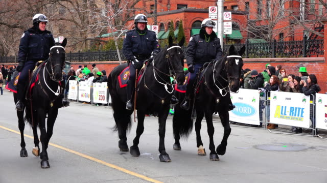 toronto mounted police partaking in the event the parade is also known as the feast of saint patrick is a cultural and religious celebration around... - hooved animal stock videos and b-roll footage