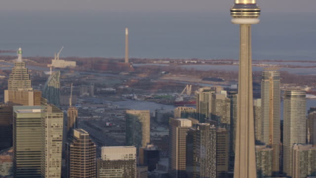 toronto, ontario, canada aarial view from helicopter - cn tower stock videos & royalty-free footage