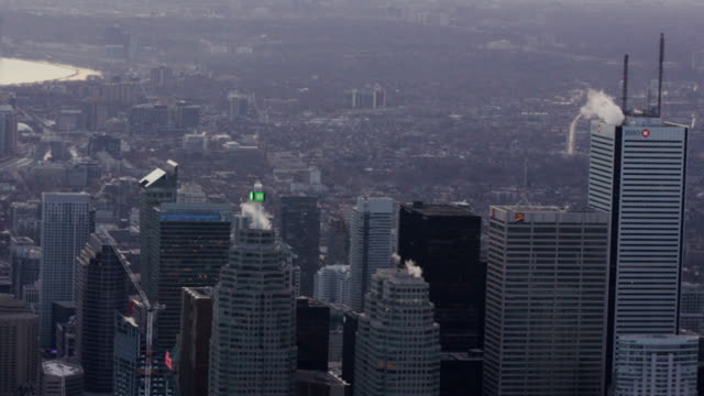 toronto, ontario, canada aarial view from helicopter - skyscraper stock videos & royalty-free footage