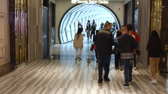 toronto, ontario, canada-august 24, 2019: people approaching the entrance of the pedestrian bridge that was designed by wilkinsoneyre architects and... - local landmark stock videos & royalty-free footage