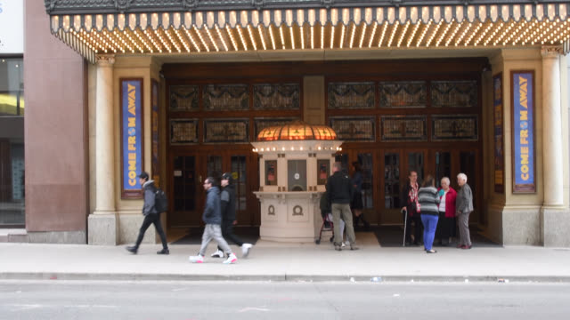 toronto, ontario, canada-august 24, 2019: tilt up to the entrance of the elgin and winter garden theatres which are two stacked theaters in yonge... - landmark theatres stock videos & royalty-free footage