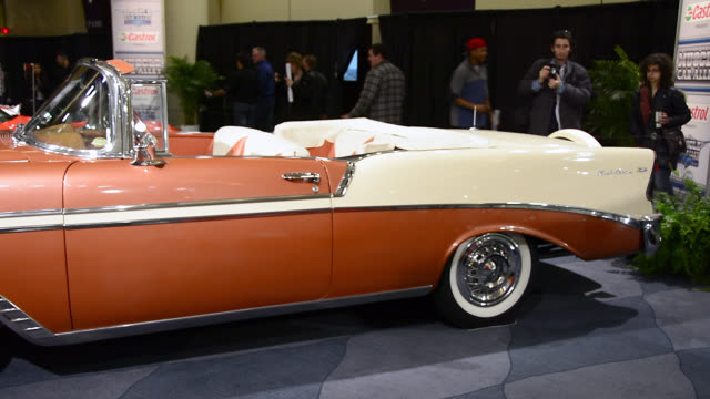 toronto, ontario, canada-february 19, 2014: a vintage and classic convertible chevrolet car in the exhibit. the 2014 edition of the canadian... - cream coloured stock videos & royalty-free footage