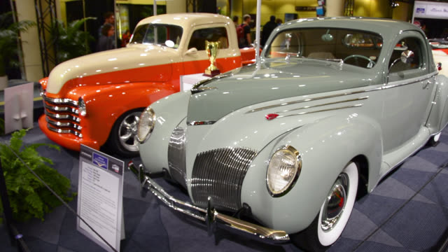 toronto, ontario, canada-february 19, 2014: vintage and classic car exhibition. the 2014 edition of the canadian international auto show held in the... - showing stock videos & royalty-free footage