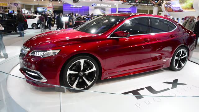 toronto ontario canadafebruary 22 2014 side view of the acura tlx prototype the canadian international auto show is a traditional annual event held... - prototype stock videos & royalty-free footage