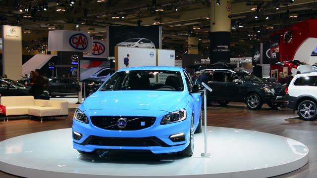 toronto ontario canadafebruary 22 2014 the blue volvo s60 in the pavilion of the brand the canadian international auto show is a traditional annual... - pavilion stock videos & royalty-free footage