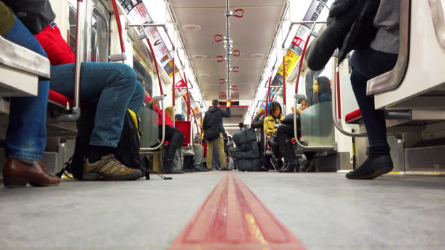 toronto, ontario, canada-may 02, 2014: a low angle view of a bombardier new subway train with passengers commuting in the city. the ttc or toronto... - surface level stock videos & royalty-free footage