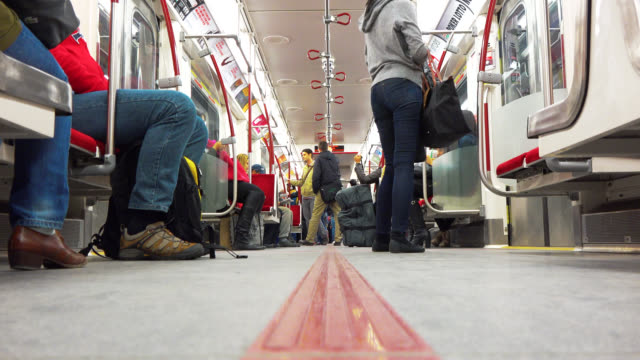 toronto, ontario, canada-may 02, 2014: surface floor point of view inside of a new bombardier subway train. the image shows the commuters inside of... - surface level stock videos & royalty-free footage