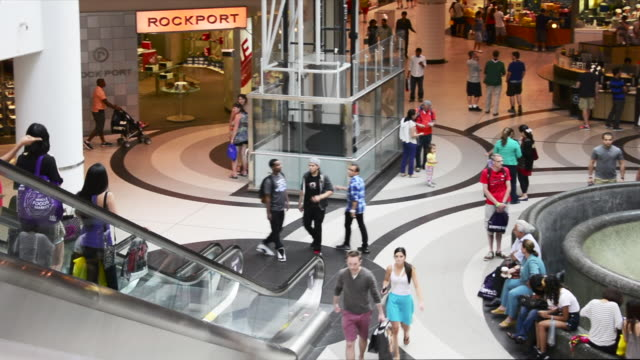 right pan towards the fountain inside of the eaton centre people go out and about the scene the shopping mall located in the yongedundas square area... - flooring stock videos & royalty-free footage