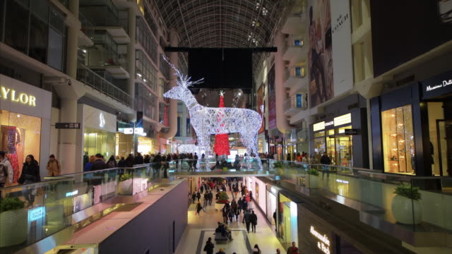 stockvideo's en b-roll-footage met toronto, ontario, canada-november 29, 2019: beautiful christmas lights decorating the eaton center which is one of the largest and most important... - shopping centre