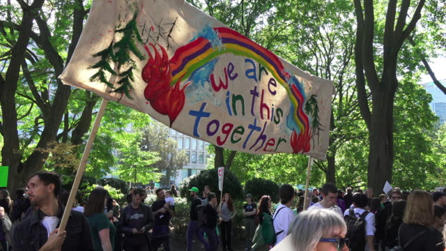 toronto, ontario, canada-september 27, 2019: various signs with the slogans of the protest. they are related to the environment. thousands of people... - strike protest action stock videos & royalty-free footage