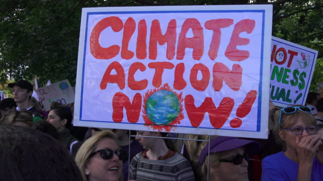 toronto ontario canadaseptember 27 2019 various signs with the slogans of the protest they are related to the environment thousands of people... - schutz stock-videos und b-roll-filmmaterial