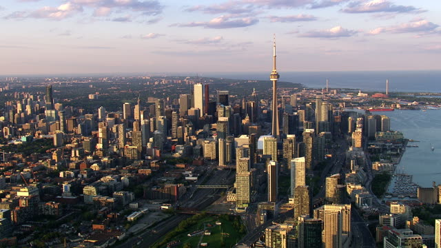 toronto ontario city skyline - overhead view stock videos & royalty-free footage