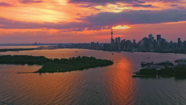 aerial toronto, ontario in golden light of the setting sun - ontario canada stock videos & royalty-free footage