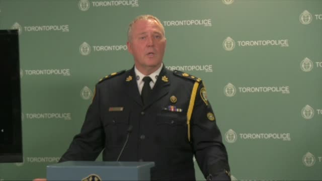 / toronto police chief william blair speaks to the media about project traveller / police launched a massive predawn raid targeting guns and drugs... - gun stock videos & royalty-free footage