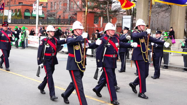 toronto police march on bloor street the event is also known as the feast of saint patrick is a cultural and religious celebration around 17 march... - religious saint stock videos and b-roll footage