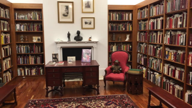 arthur conan doyle thematic room the library is a tourist attraction in the canadian city for the beautiful architecture and this specialty... - arthur conan doyle stock videos & royalty-free footage