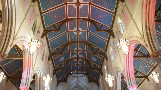 toronto saint michael cathedral holds an open doors event during the revitalization process they undergo the occassion was used to announced that... - 天使ミカエル点の映像素材/bロール