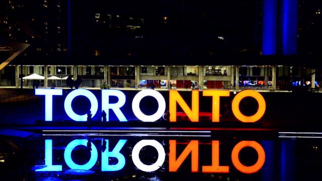 Toronto Sign at Nathan Phillips Square at Night Time