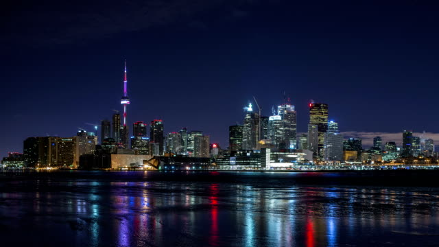 toronto skyline at night - toronto stock videos & royalty-free footage
