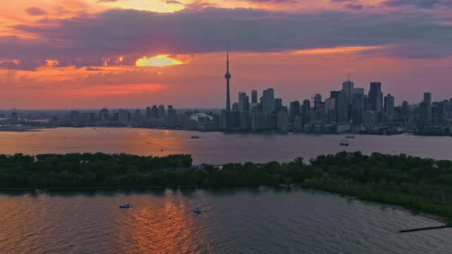 aerial toronto skyline at sunset from the islands in the inner harbour - ontario canada stock videos & royalty-free footage