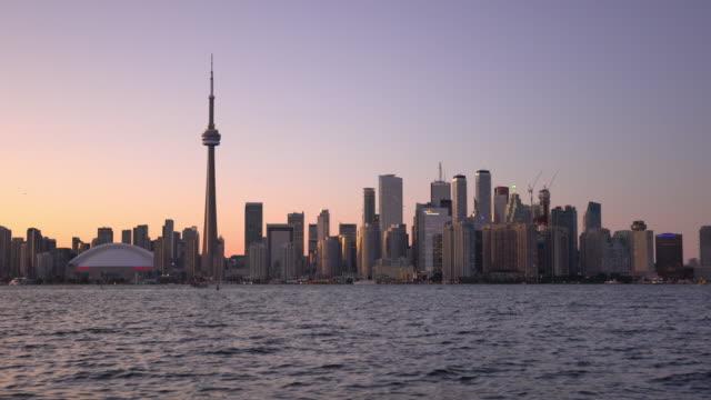 toronto skyline at twilight in ontario canada - ontario canada stock videos & royalty-free footage