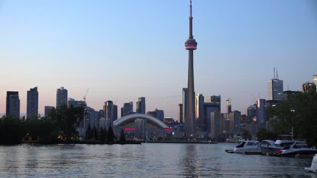 toronto skyline during the afternoon twilight hours, canada - ontario canada stock videos & royalty-free footage