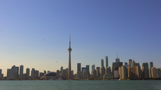Toronto Skyline from Lake Ontario in Daytime, Zoom In- Canada