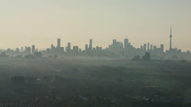 toronto skyline - hazy fall morning ws - smog stock videos & royalty-free footage
