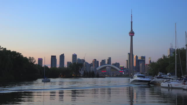 Toronto Skyline Including CN Tower at Dusk Seen from Cruise in Centre Island