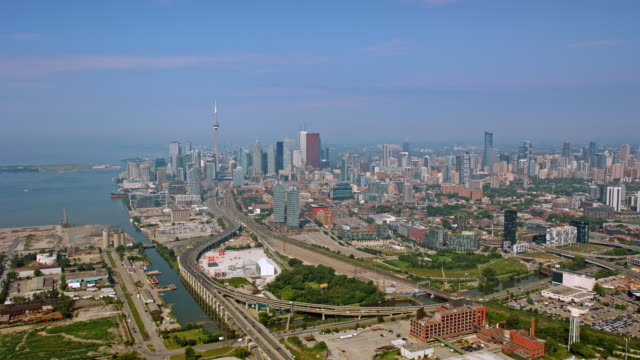 aerial toronto skyline on a sunny day - waterfront stock videos & royalty-free footage