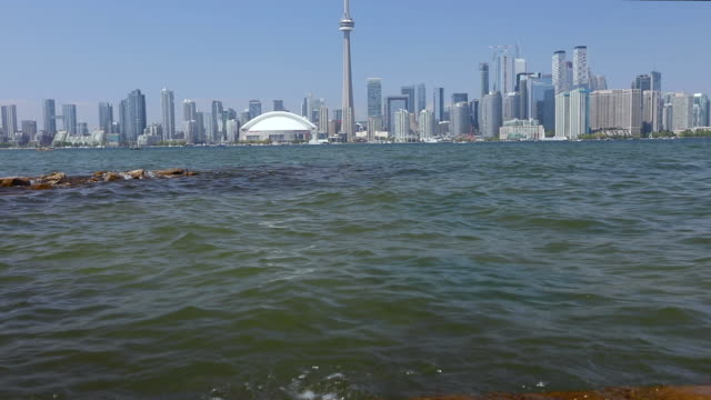 toronto skyline seen from toronto island in summer - ferry stock videos & royalty-free footage