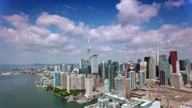aerial toronto waterfront in sunshine - toronto stock videos & royalty-free footage