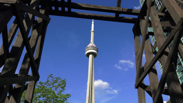 Toronto,Canada: CN Tower in clear blue sky. Zoom in from the Chinese Railroad Workers Memorial