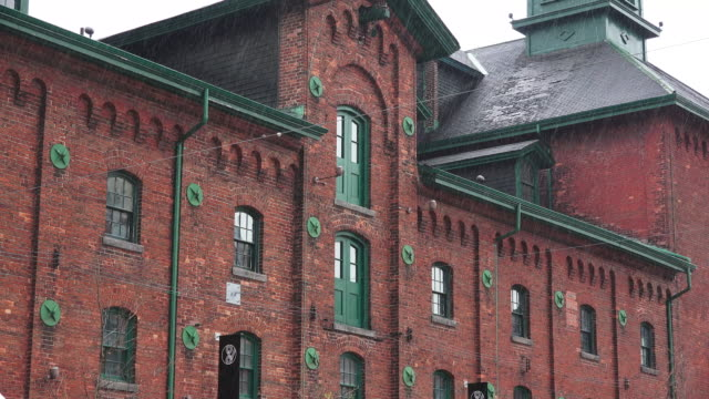 toronto,canada: details of distillery district on a rainy day. the rain falls on the old buildings and streets of the national historic site - ward stock videos & royalty-free footage