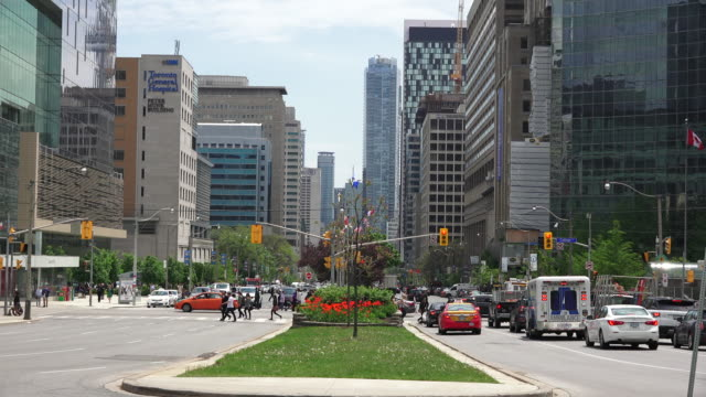 toronto,canada: downtown and financial district, looking south from queen's park. everyday traffic and lifestyle in the capital city of the ontario province. - toronto stock-videos und b-roll-filmmaterial
