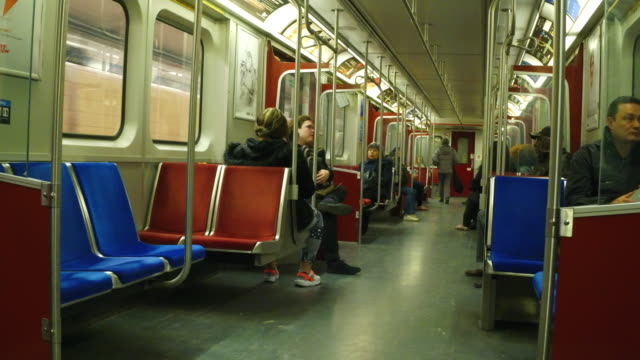 Toronto,Canada: inside of an old subway train wagon. The vintage vehicles are being replaced in a phased project to modernize public transportation