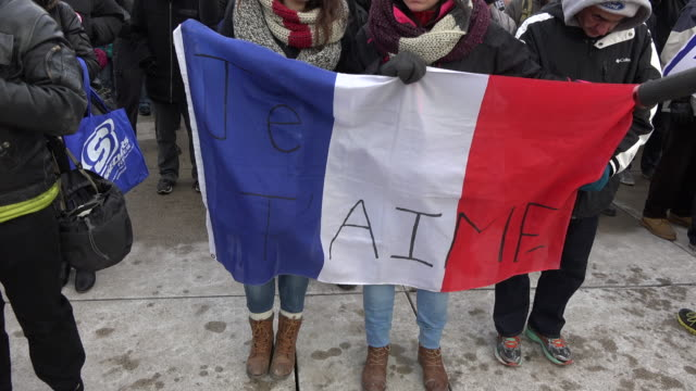 'Je Suis Charlie' rally in support of Paris after the terror attacks Moment of silence for the victims The event is held at Nathan Phillips Square