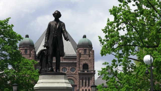 Toronto,Canada: John A. MacDonald bronze statue monument in Queen's Park. The famous place is a tourist visiting attraction