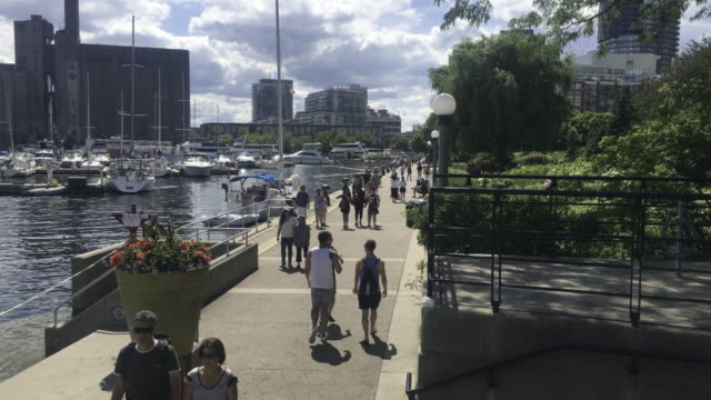 Toronto,Canada: Tourists and Locals walking in the waterfront by the marina during a good weather Summer day. Aerial view
