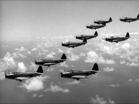 AERIAL Torpedo Bombers in flight VS formations 'peeling off' from in line formation