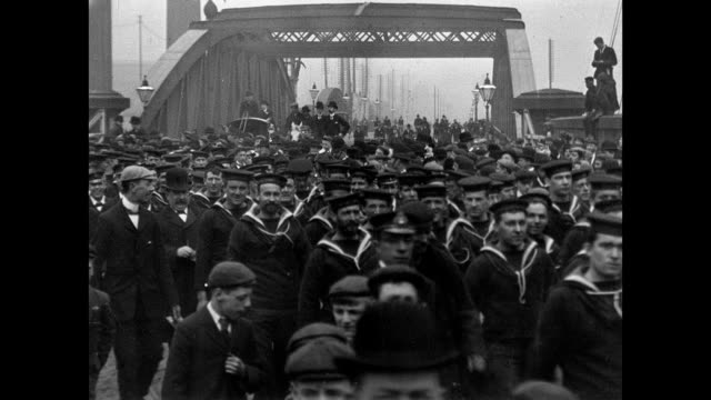 torpedo flotilla visit to manchester 1901 - edwardian style stock videos & royalty-free footage