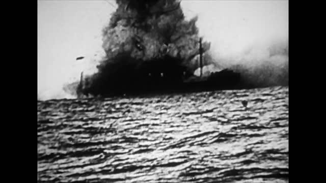 torpedoed ship in wwii - atlantic ocean stock videos & royalty-free footage