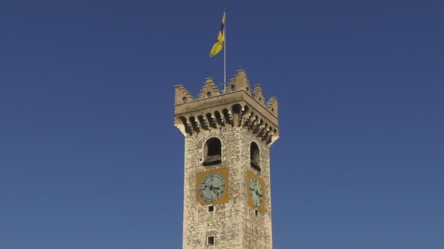 CU, ZO, Torre Civica against clear sky, Trento, Italy