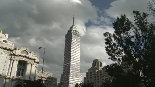 ws la torre latinoamericana building with fine arts palace / mexico city, mexico - torre latinoamericana stock videos & royalty-free footage