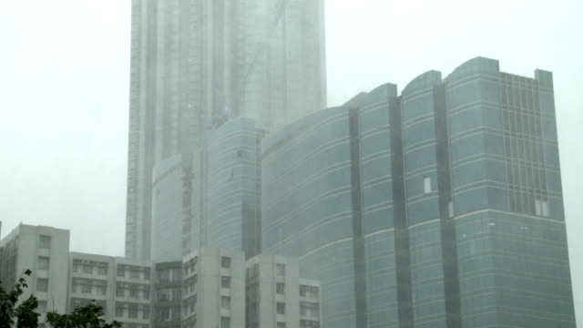 torrential rain lashes high rise buildings as typhoon hato nears hong kong on 23rd august 2017 - typhoon stock videos and b-roll footage