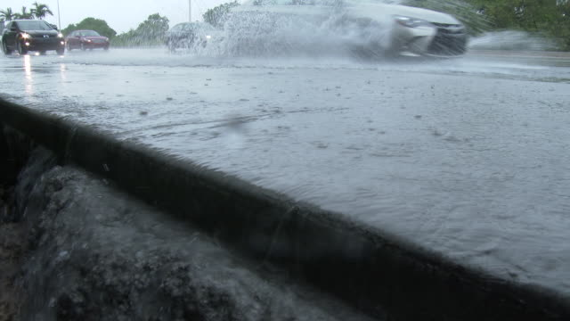 torrential rains from a summer thunderstorm in south florida create flash flooding conditions torrents of water cascade over the edge of a sidewalk... - hialeah stock videos & royalty-free footage