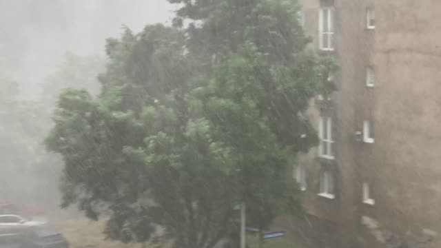 torrential rains with hail accompanying sudden outbursts of storms in  polish city - gale stock videos & royalty-free footage