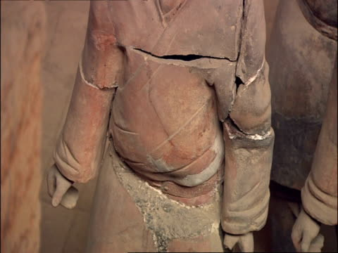 cu torso detail of terracotta warrior, museum of qin, xian, china - torso stock videos & royalty-free footage